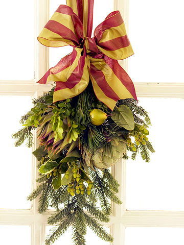 Hanging Greenery, Red and Green Ribbon