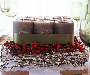 Green Candle Center Piece