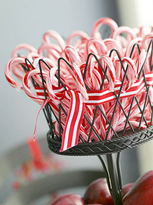 Candy canes in black centerpiece