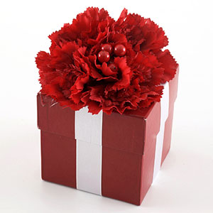 Red gift box with silver ribbon and red flower