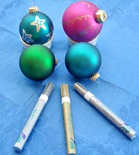 Holiday bright colored metallic bulbs and pens