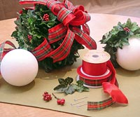 Holiday hanging greenery and ribbon how to