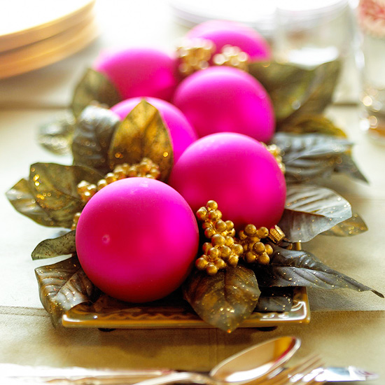 hot pink Christmas tree ball decorations on tray
