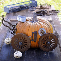 pumpkin carriage made with junk scraps