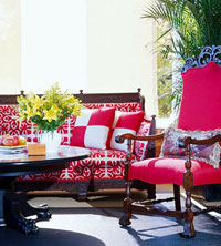 Sitting area with red chair and couch