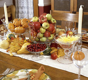 fruit and squash table decorated centerpiece