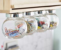 office supplies storage in jars