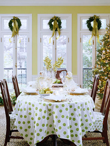 dining room table with polka dot tablecloth