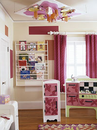 storage corner and table on ceiling