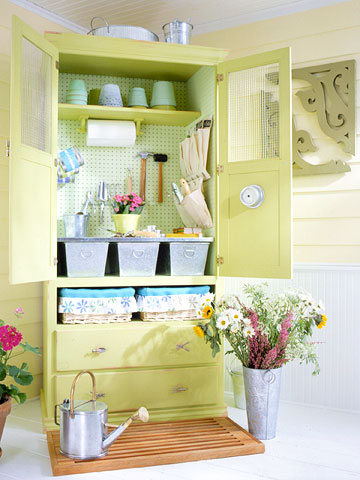 garden armoire open