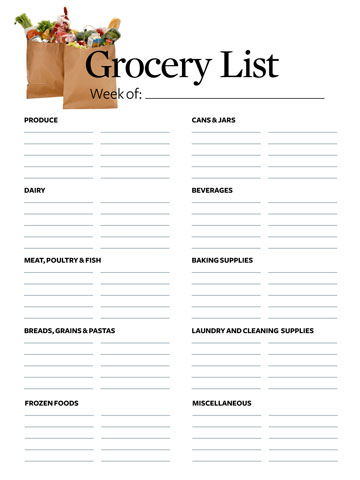 printable grocery shopping list template .