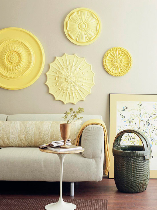 wall with yellow circles