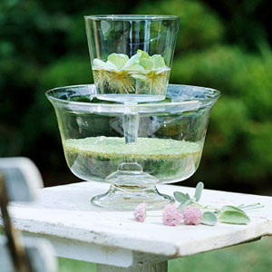 two-tier water centerpiece