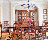 dining room with damask stenciling