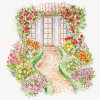 Front-Yard Rose Garden Plan Illustration