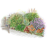 Fall Deckside Garden Plan Illustration