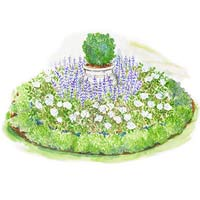 Formal Small-Space Garden Plan Illustration
