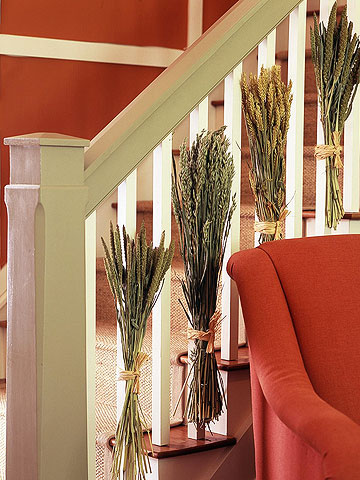 wheat bunches up staircase