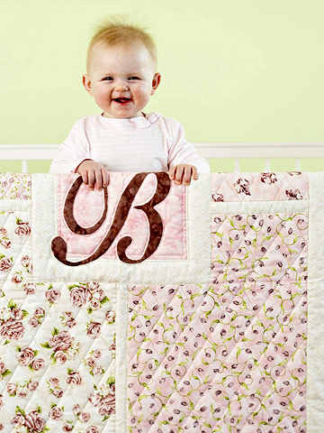 Baby Girl Quilt with Baby