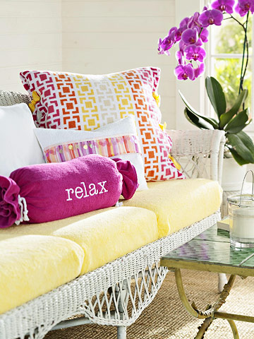 terry cloth cushion slipcovers and pillows