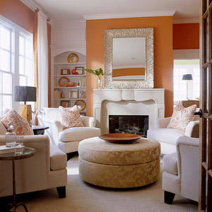 tangerine wall and round ottoman