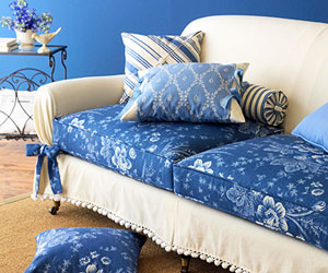 blue slipcovered sofa cushions