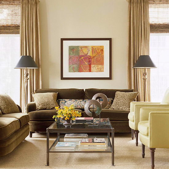 brown and tan living room