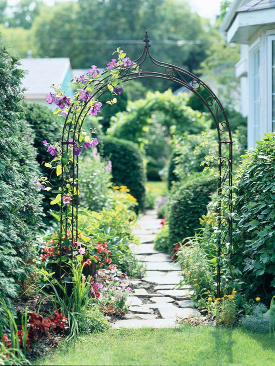 Side yard with path and arbor
