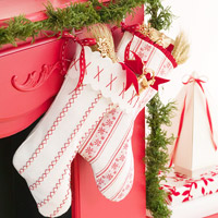 White and red embroidered stockings