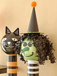 cat and witch decorations