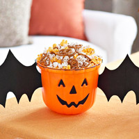 pumpkin face bucket with bat wings