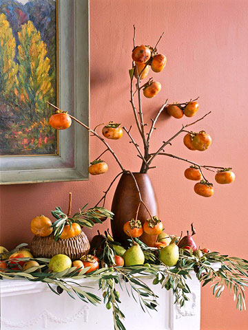 Leafy Pumpkin Mantel Arrangement