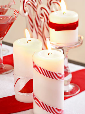 ribbon-wrapped candle