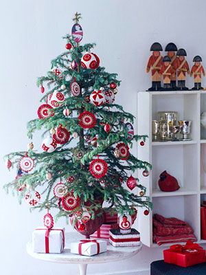 red and white with round ornaments