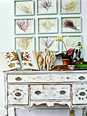 cabinet with collectibles