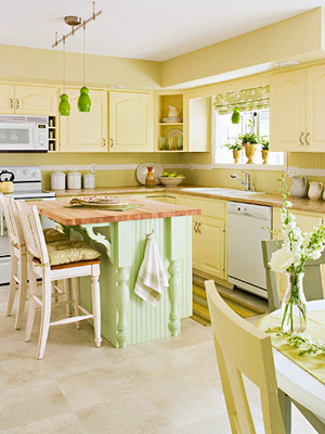 Kitchen Cabinet Painting Ideas on Green Yellow Kitchen W  New Light Fixtures  Butcher Block W  Brackets