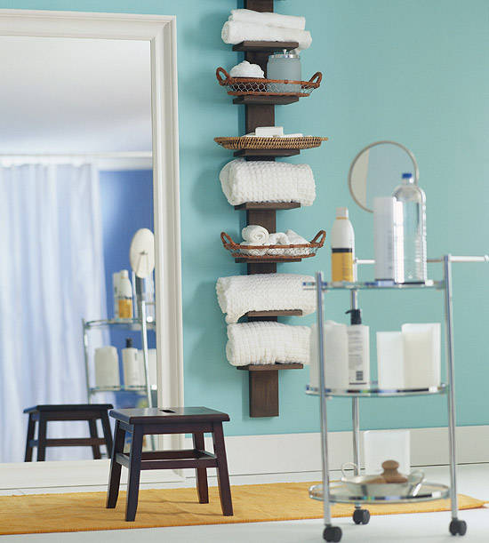 Tall wall shelf