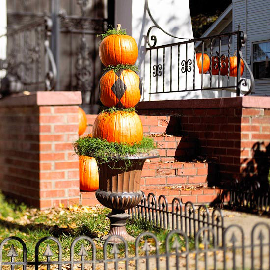 Potted Pumpkins stacked