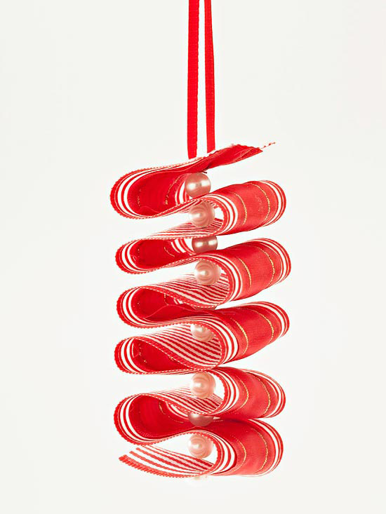 Ribbon and bead ornament