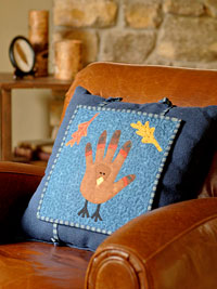 Blue Turkey Pillow