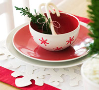 Red and white snowflake place setting
