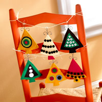 Christmas tree ornaments on chair