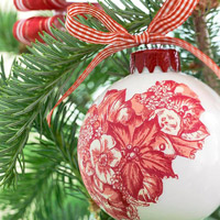 Red and white detail ornament
