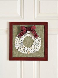 framed button wreath
