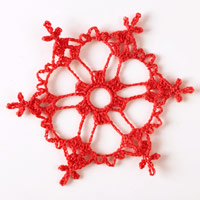 Red crochet ornament