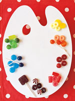 multi-color candy on a painter's board