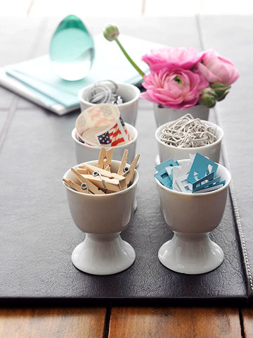 office supplies in egg cups