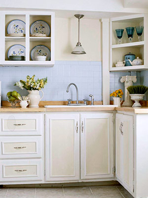 white and yellow cottage kitchen