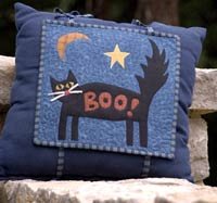 Scary Cat Halloween Applique Pillow