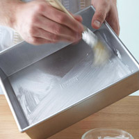 Greasing baking pan